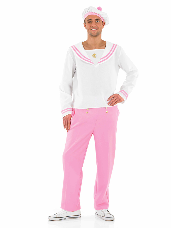 Adult Mens Pink Sailor Costume Navy Uniform Camp Stag Party Fancy ...