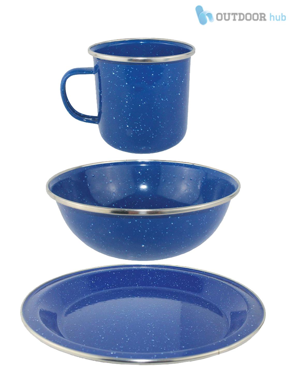 Awesome Camping Blue Enamel Cook Dining Set Mug Bowl