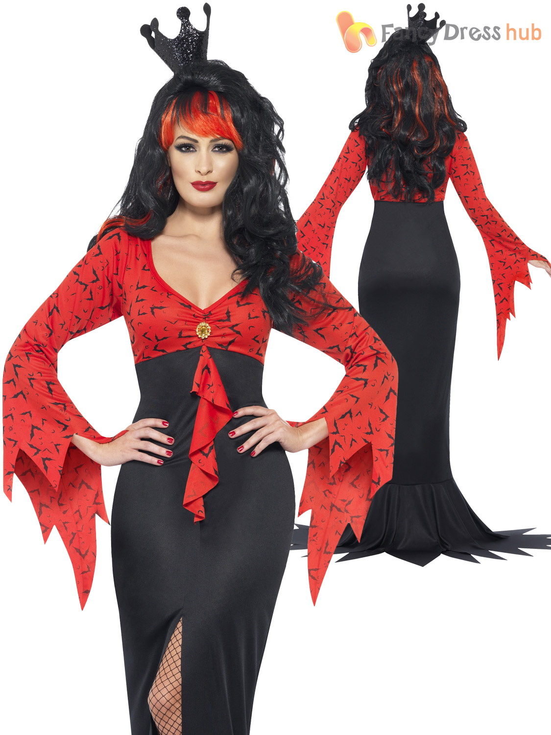 Size 8-18 Ladies Vampire Morticia Witch Costume Womens Halloween ...