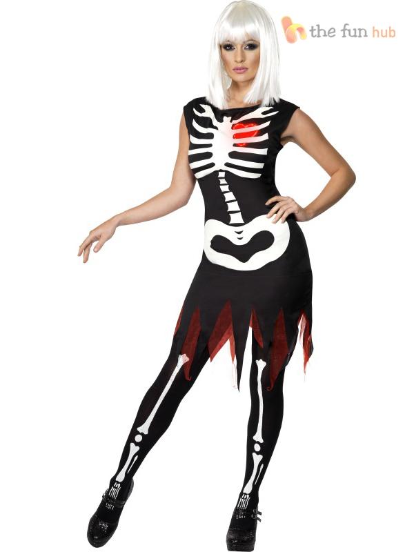 Halloween Ladies Sexy Skeleton Costume Glow In The Dark Women Fancy Dress Outfit Ebay
