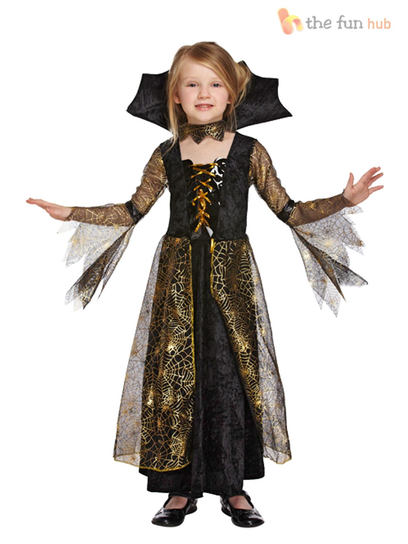 AGE 4 12 Girls Vampire Costume Vampiress Fancy Dress Halloween ...