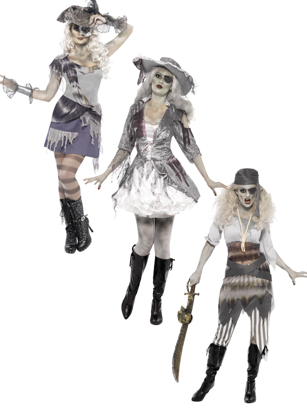ladies sexy ghost ship zombie pirate costume halloween. Black Bedroom Furniture Sets. Home Design Ideas
