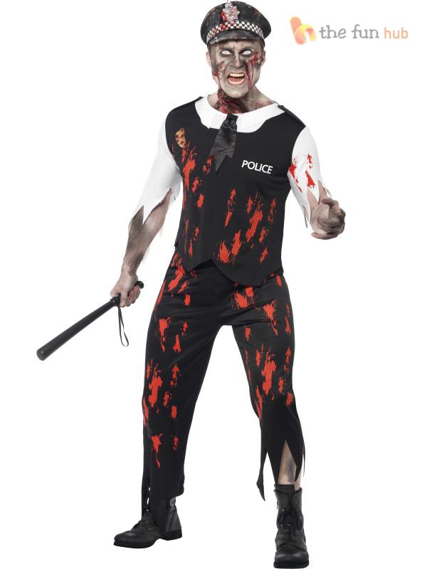 Zombie Policeman Costume Mens Ladies  Police Woman Couples Halloween Fancy Dress