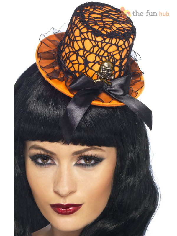 Halloween-Mini-Top-Hat-Gothic-Burlesque-Witch-Womens-Ladies-Fancy-Dress-Costume