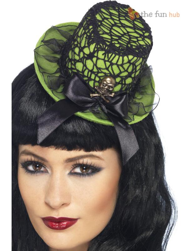 Halloween-Mini-Top-Hat-Gothic-Burlesque-Witch-Womens-Ladies-Fancy-Dress-Costume