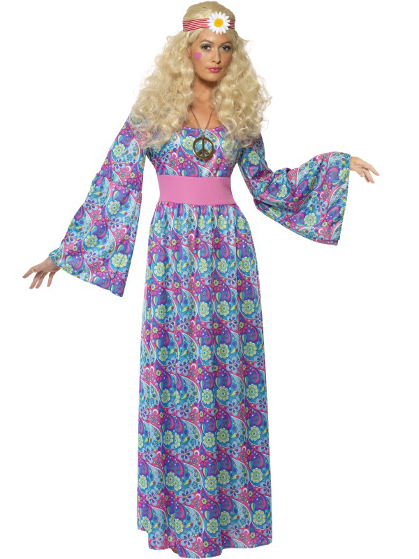Adult-60s-70s-Hippy-Flower-Power-Child-Ladies-Maxi-Fancy-Dress-Costume-Outfit