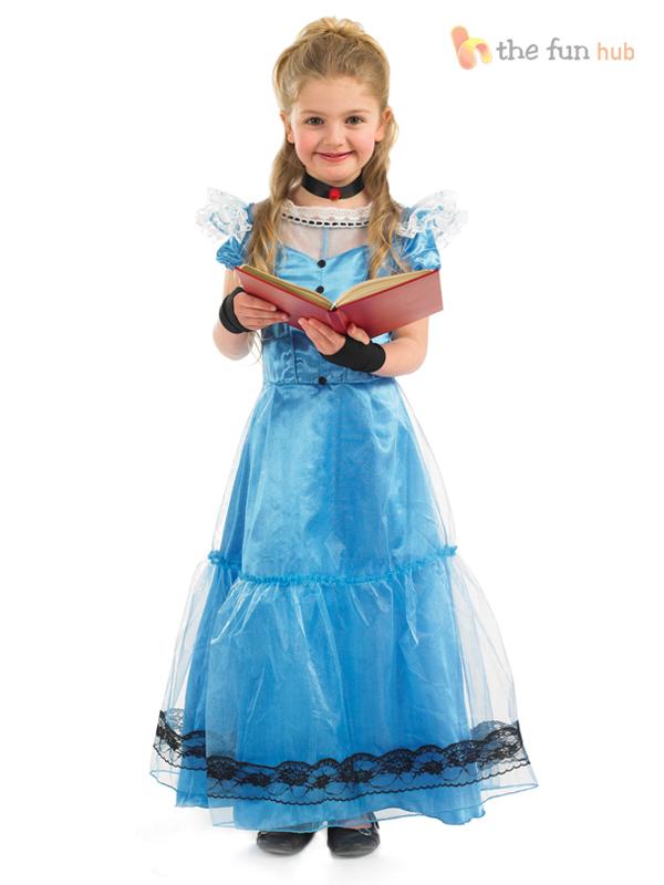 Girls-Long-Victorian-Dress-Costume-School-Children-Fancy-Dress-Book-Week-Alice