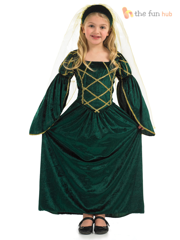 Girls-Tudor-Princess-Costume-Medieval-Queen-Fancy-Dress-Book-Week-Outfit-Age-6