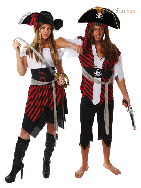 Ladies-Mens-Caribbean-Pirate-Fancy-Dress-Costume-Adult-Couple-Outfit-All-Size
