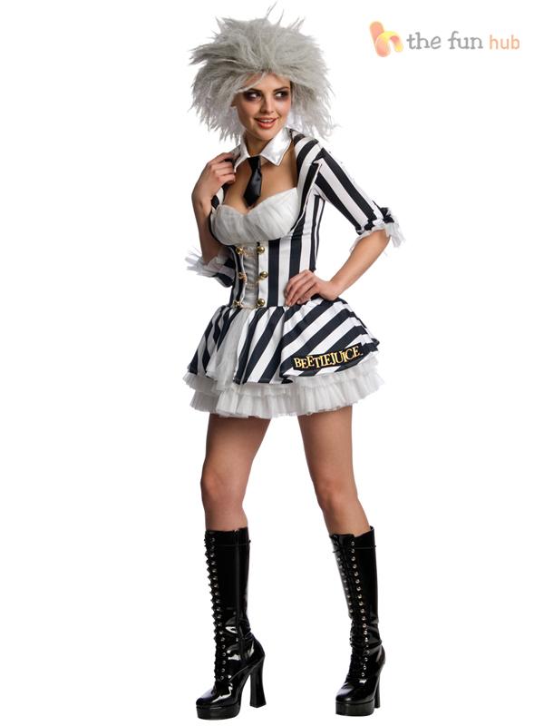 Ladies-Beetlejuice-Costume-Wig-Beetle-Juice-Womens-Sexy-Halloween-Fancy-Dress