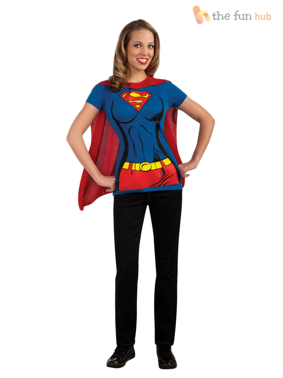 Superhero-Ladies-T-Shirt-amp-Cape-Hen-Night-Women-039-s-Fancy-Dress-Costume-Size-8-22