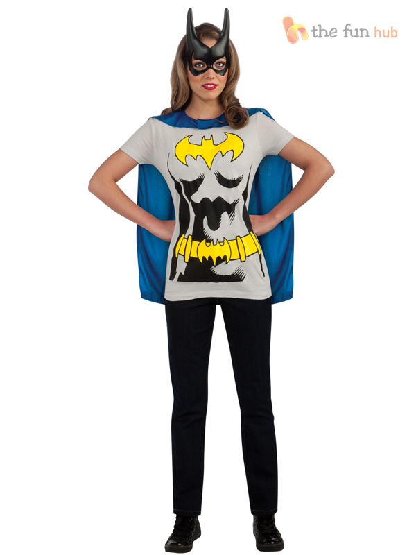Superhero-Ladies-T-Shirt-Cape-Hen-Night-Womens-Fancy-Dress-Costume-Size-8-22