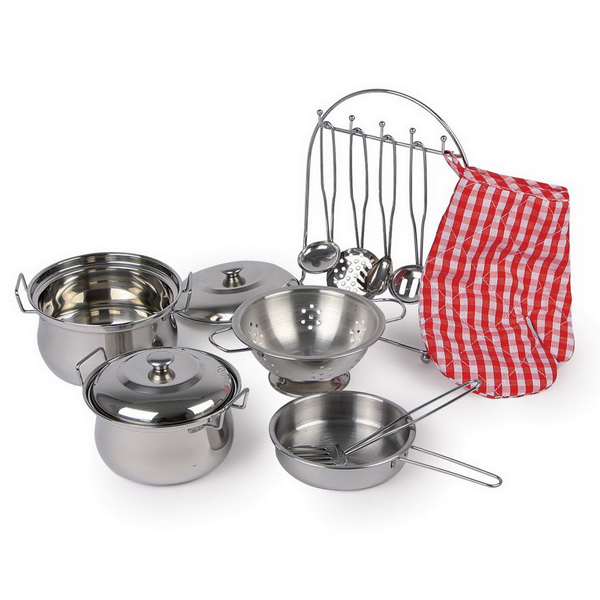 Childrens Toy Metal Kitchen Cooking Utensil Mess Pot 13 Pce Set Role Play Kids Ebay
