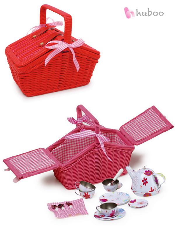 Toy Picnic Basket : Childrens red or pink picnic basket metal tea set girls