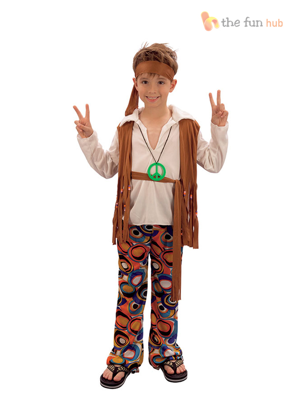 c9c2d0ac05f446 Hippy Boy Costume Kids Fancy Dress Childs Hippie Oufit 60 s 70 s 60s ...