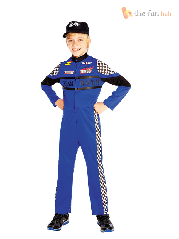 Race Car Driver Child Costume Start your engines! You are off to the races in this cool costume! Costume includes: Black and red jumpsuit with cool arm patches and matching belt.