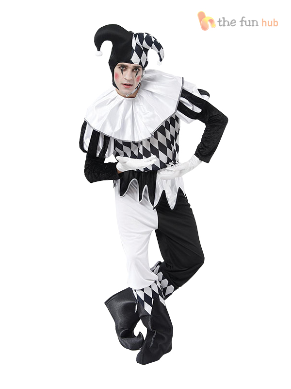 Harlequin-Jester-Clown-Circus-Costume-Medieval-Adult-Mens-Ladies-Fancy-Dress
