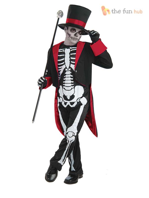 Boys Skeleton Suit Bond Day Of The Dead Costume Halloween Fancy Dress Kids - eBay