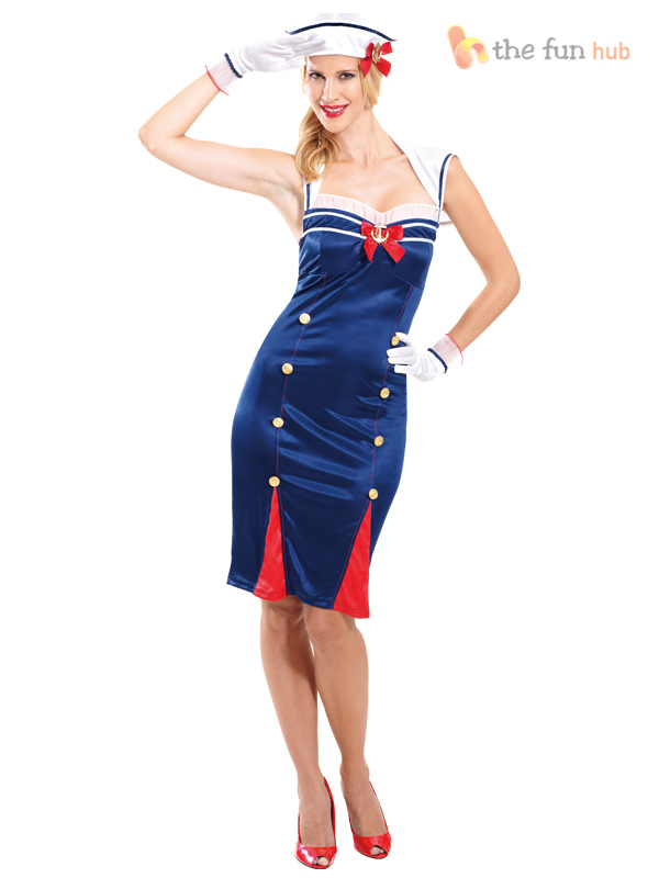 9dfb60283eb75 Ladies Sexy Sailor Costume Pin Up Girl Navy Uniform Womens Fancy ...