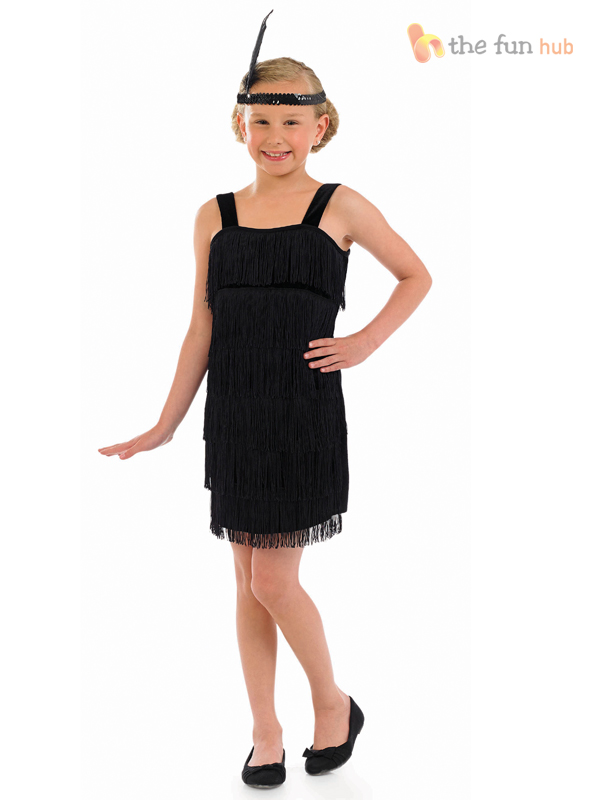 Girls Flapper Costume + Headband 1920s Charleston Fancy ...