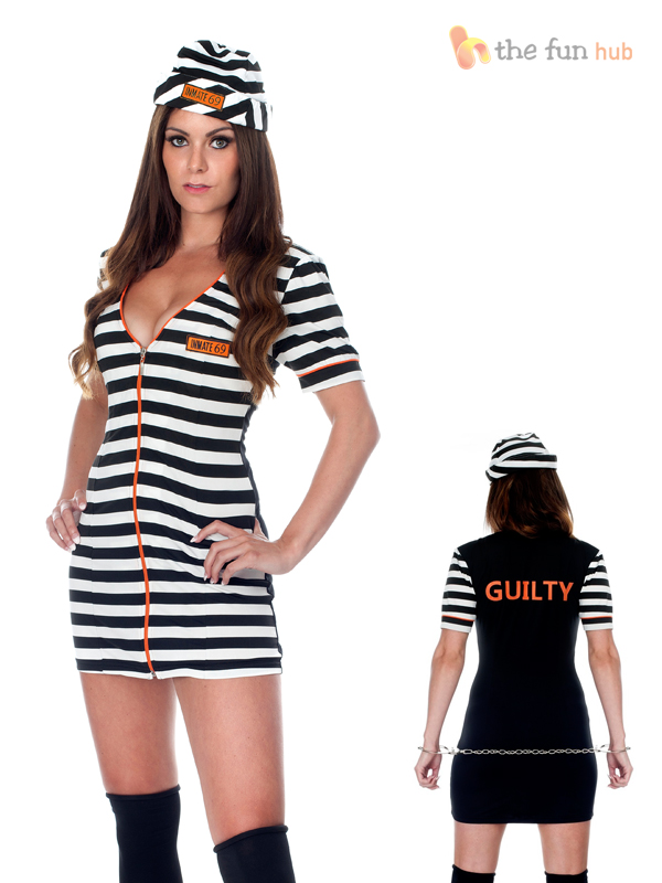 Ladies-Sexy-Robber-Inmate-Prisoner-Convict-Costume-Uniform-Adult-Hen-Fancy-Dress