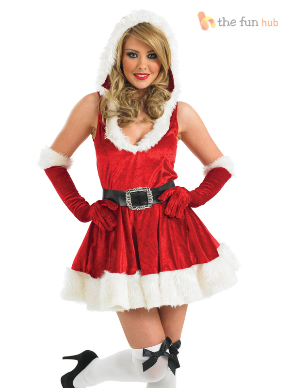 Ladies miss sexy santa claus costume christmas xmas womens