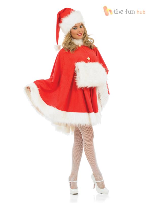 Ladies sexy santa claus cape costume christmas xmas womens