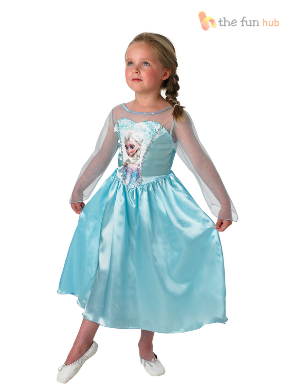 Disney-Frozen-Elsa-Costume-Licensed-Fancy-Dress-Girls-Kids-Classic-Princess