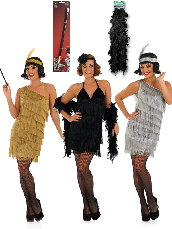 Ladies Gold Flapper Dress, Cigarette Holder & Boa