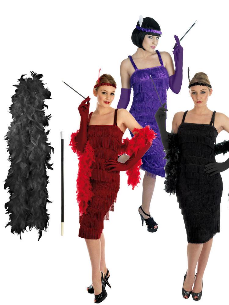 Ladies Flapper Costume, Cigarette Holder & Boa