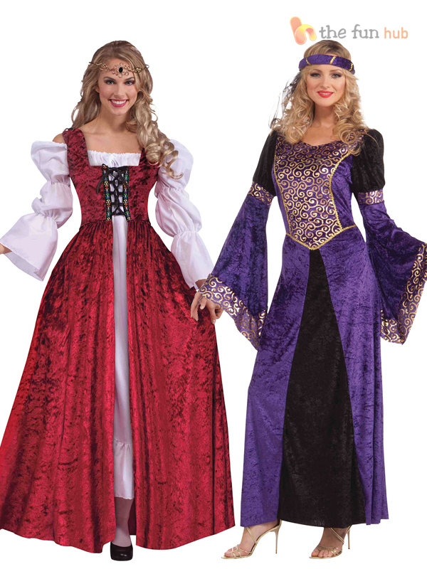 Ladies-Deluxe-Medieval-Fancy-Dress-Costume-Maid-Marian-Tudor-Queen-Outfit