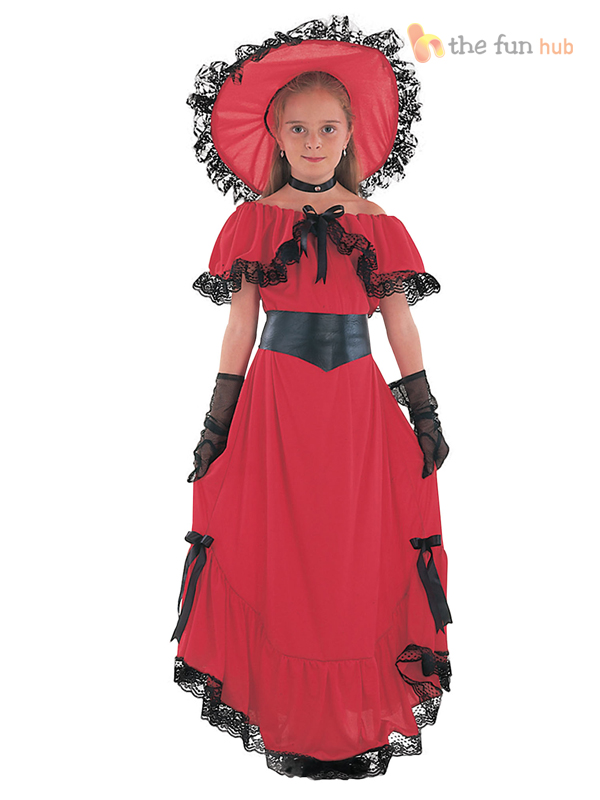 Girls-Scarlet-O-Hara-Victorian-Costume-Children-Fancy-Dress-Historical-Book-Week