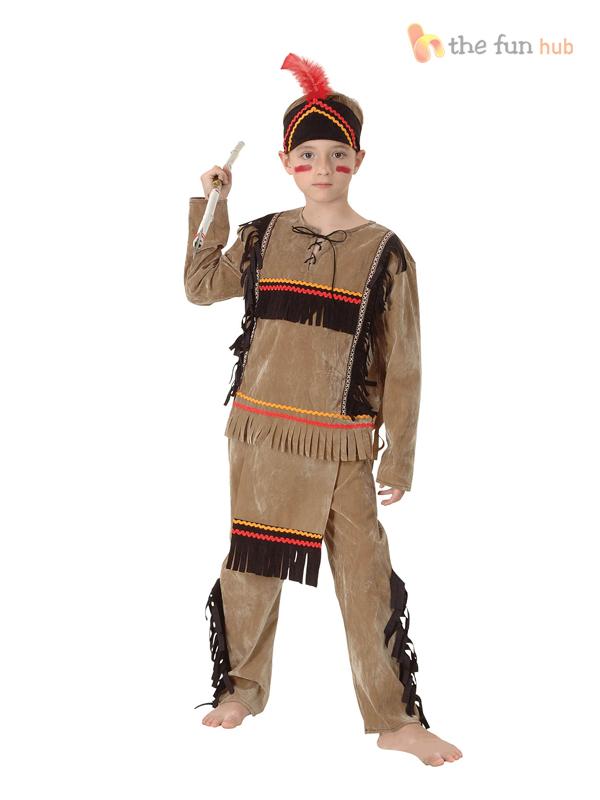 girls boys red indian costume fancy dress book week native pocahontas kids. Black Bedroom Furniture Sets. Home Design Ideas