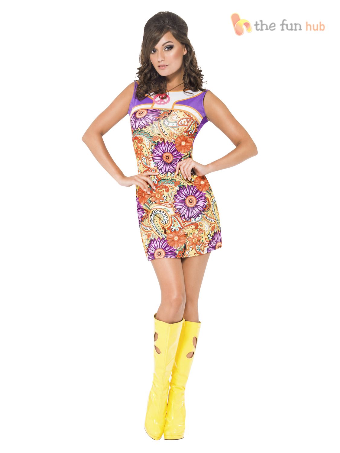 Fever-Ladies-60s-70s-Hippy-Hippie-Flower-Power-Fancy-Dress-Costume-Womens-Ladies