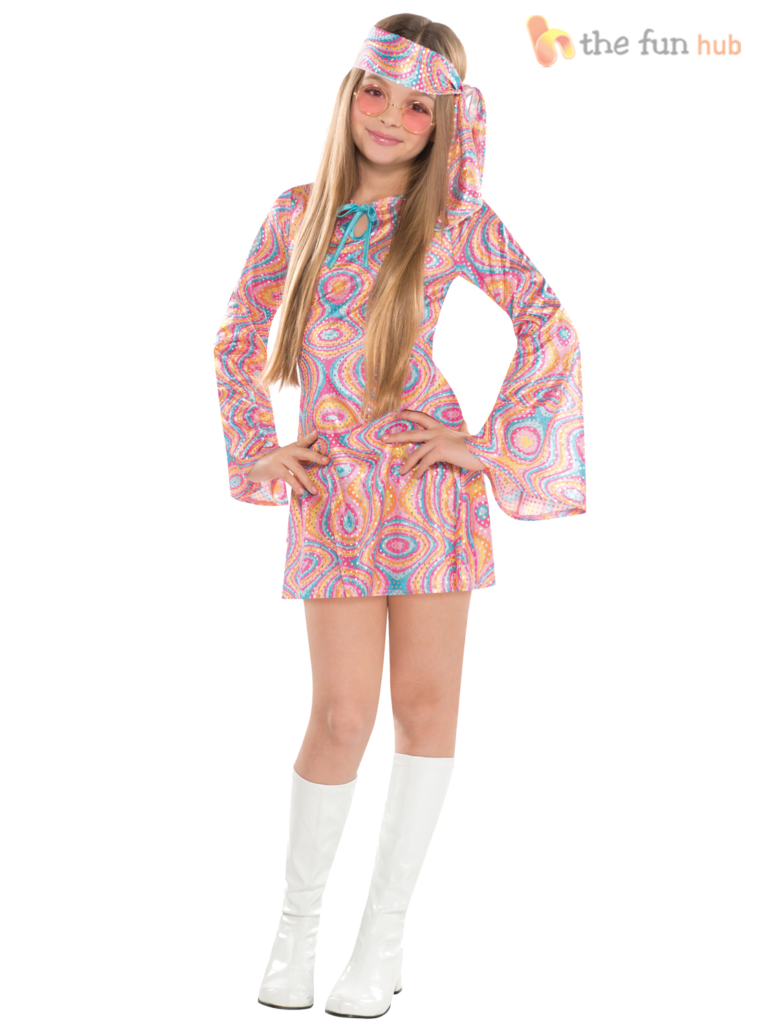 Girls Teen 60s 70s Hippy Chick Fancy Dress Costume Disco Groovy ...