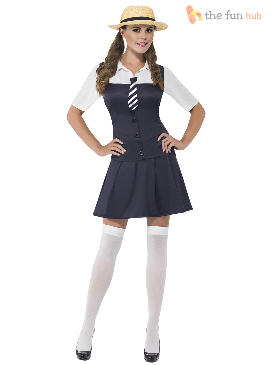Ladies-Sexy-School-Girl-Schoolgirl-Uniform-St-Trinians-Hen-Fancy-Dress-Boater