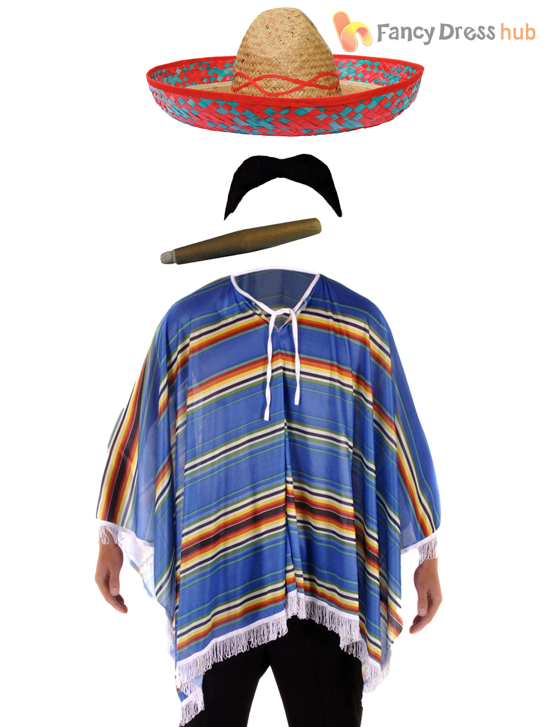 Mexican-Poncho-Accessories-Fancy-Dress-Costume-Bandit-Western-Stag-Do-Party