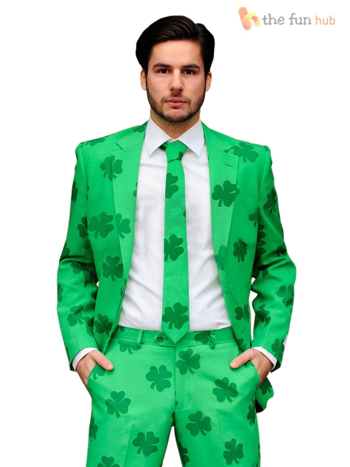Mens green irish shamrock oppo suit st patricks day outfit