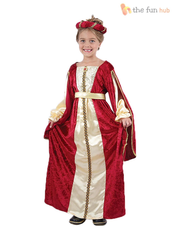 Girls-Tudor-Queen-Princess-Regal-Fancy-Dress-Deluxe-Medieval-Book-Week-Costume