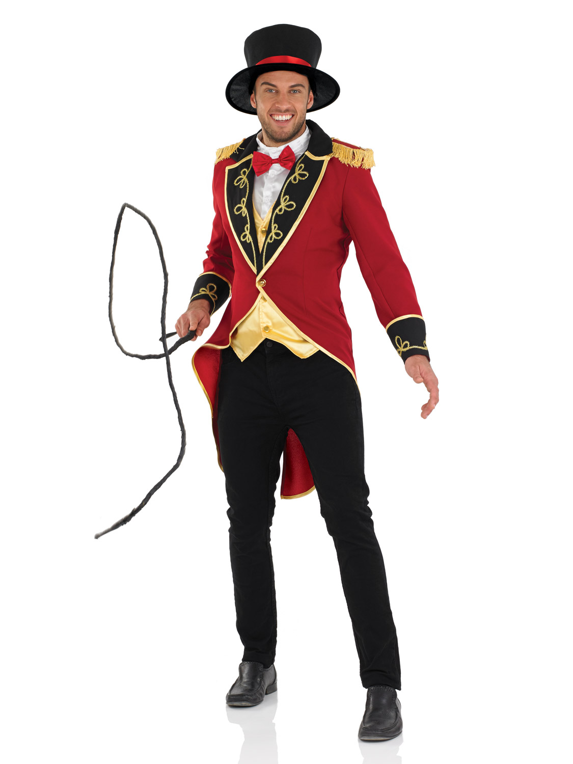 Mens ringmaster costume lion tamer tailcoat top hat circus fancy dress