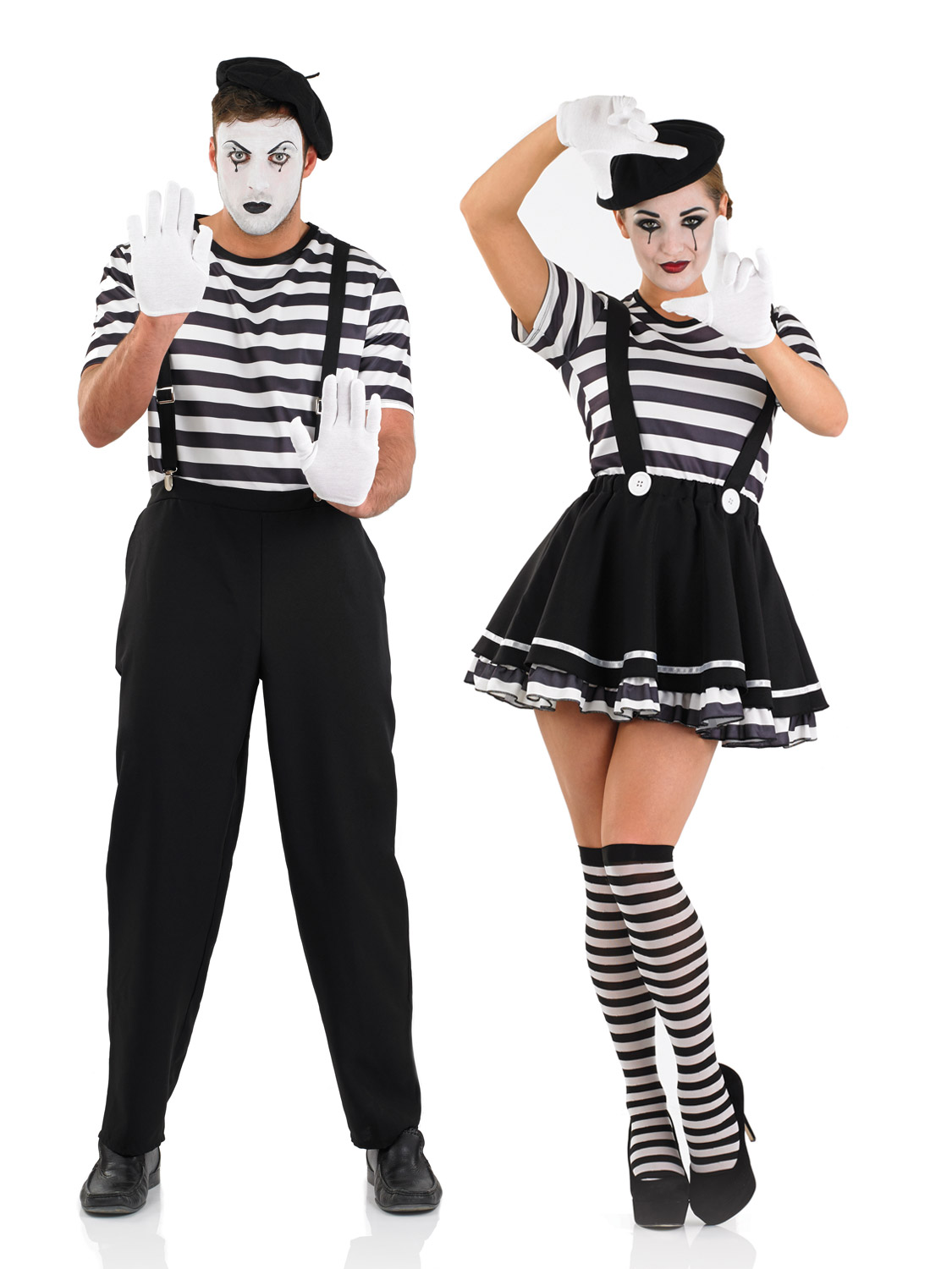 Mens Ladies Mime Artist Costume Black White Street Circus ...