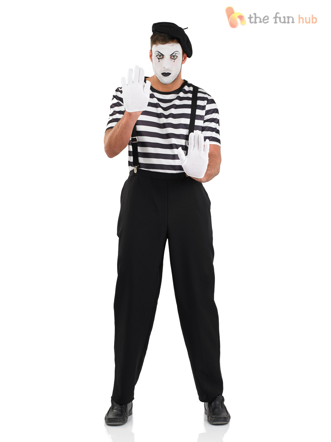 Mens Ladies Mime Artist Costume Black White Couple Circus ...
