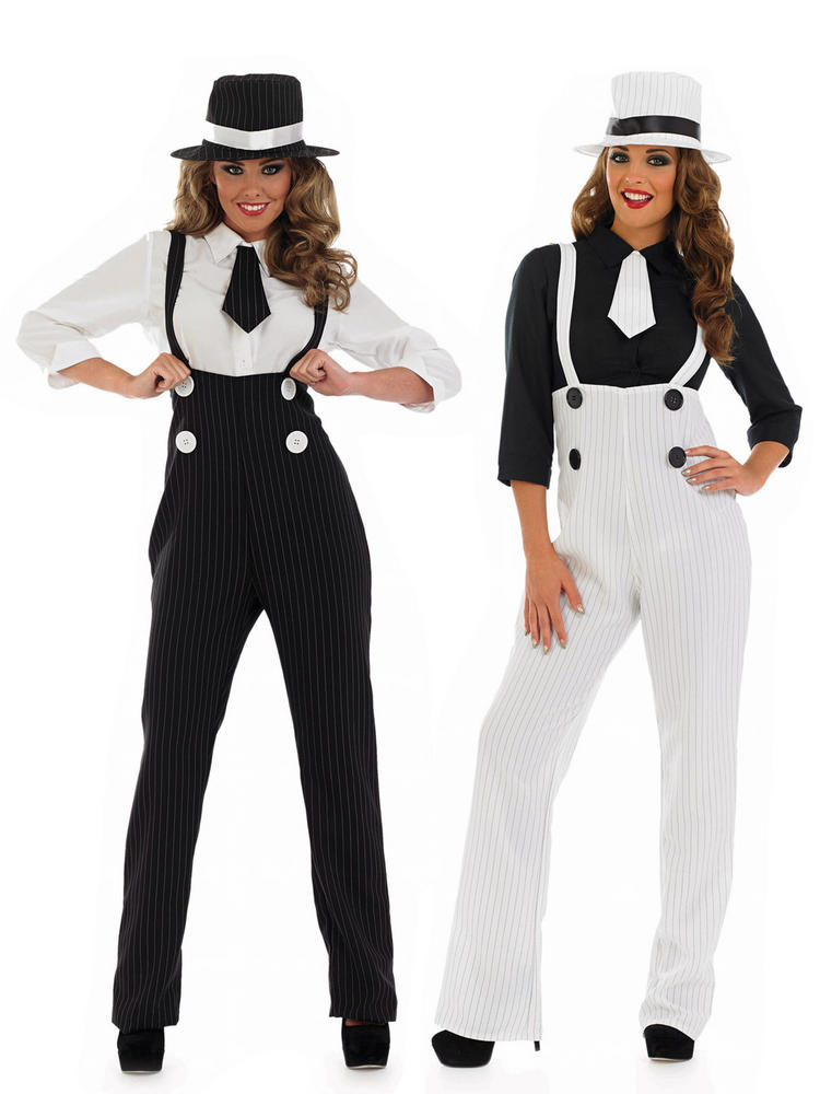 Ladies Gangster Costume - Black or White - Medium