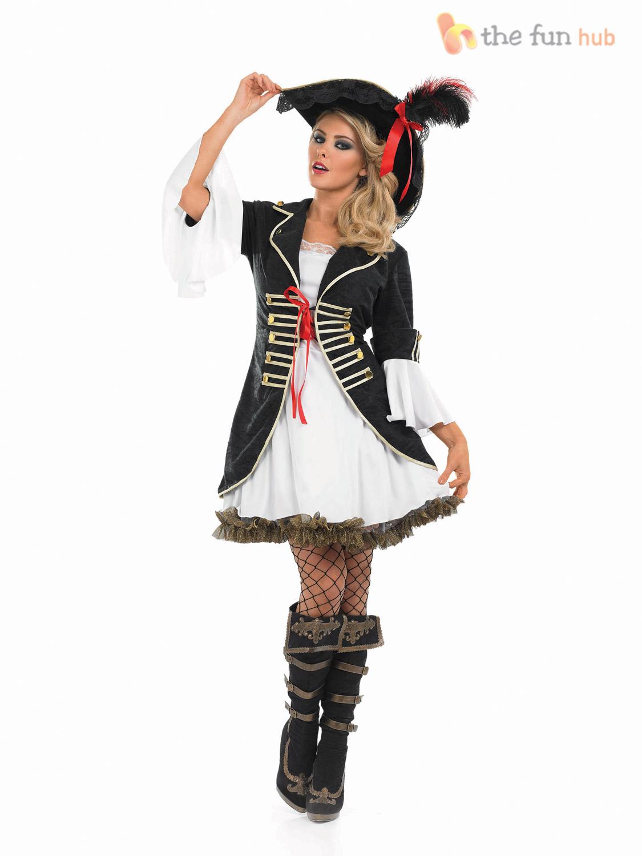 Caribbean-Pirate-Ladies-Fancy-Dress-Captain-Buccaneer-Womens-  sc 1 st  eBay & Caribbean Pirate Ladies Fancy Dress Captain Buccaneer Womens Costume ...
