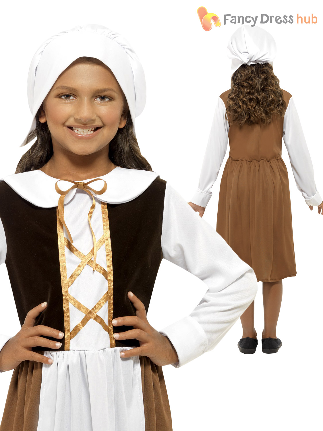Kids-Medieval-Tudor-Poor-Maid-Girls-School-Book-Week-Fancy-Dress-Costume-Outfit
