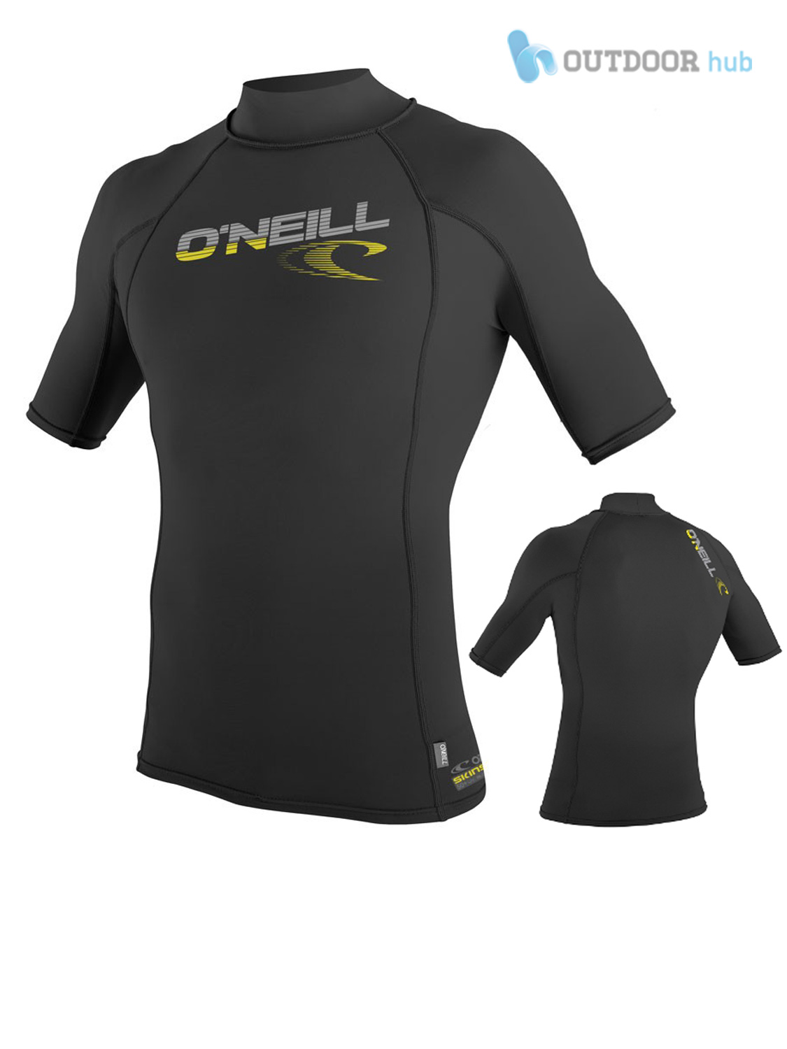 ONeill-Mens-Skins-Rash-Vest-Turtleneck-Short-Sleeve-Surf-Kayak-Lycra-UV-50