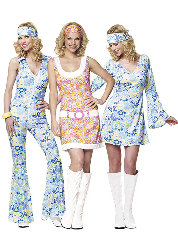 Ladies 1960s 1970s Hippy Fancy Dress Costume Hippie Flower ...