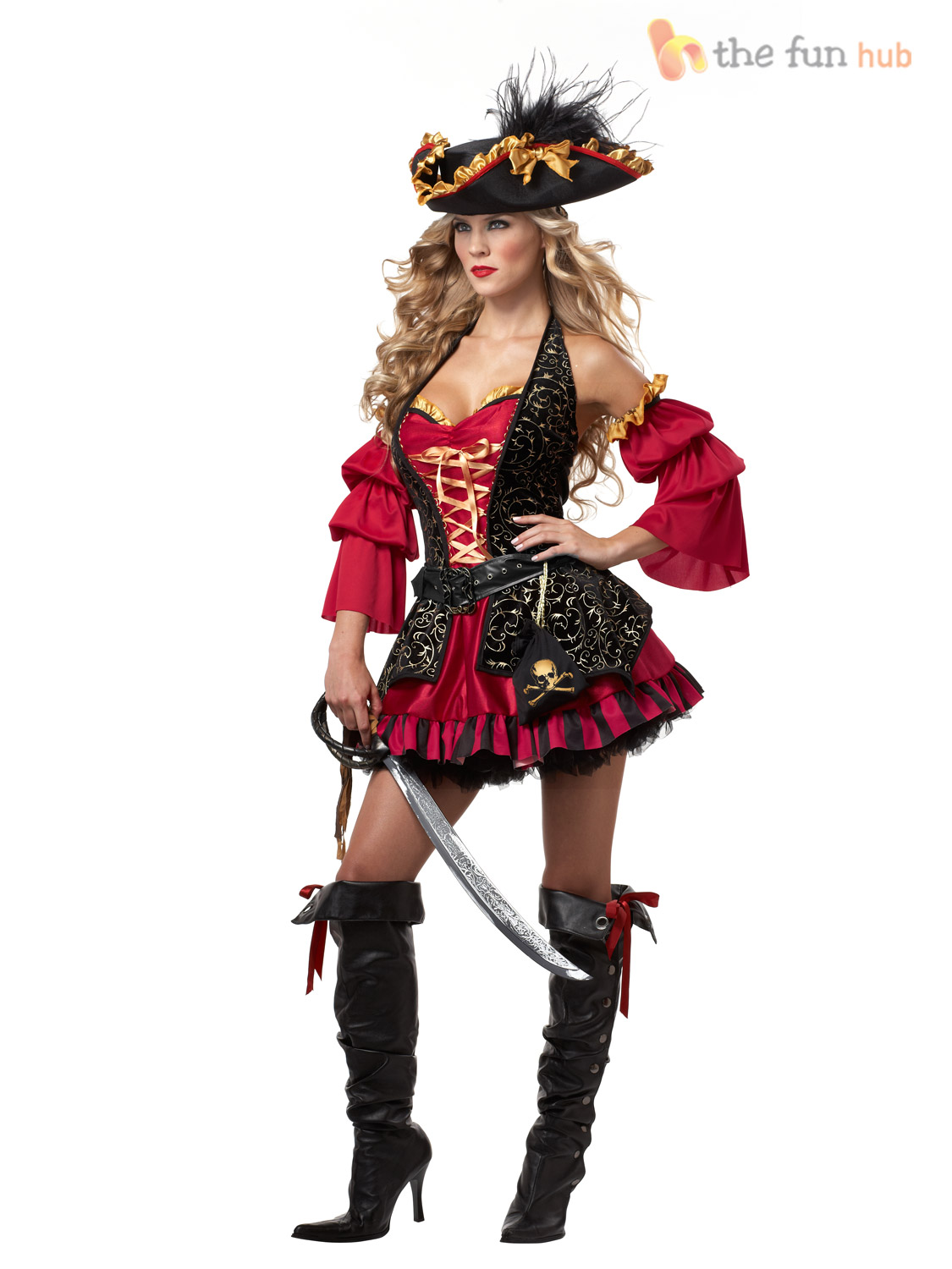 Deluxe Ladies Sexy Pirate Lady Costume Womens Fancy Dress