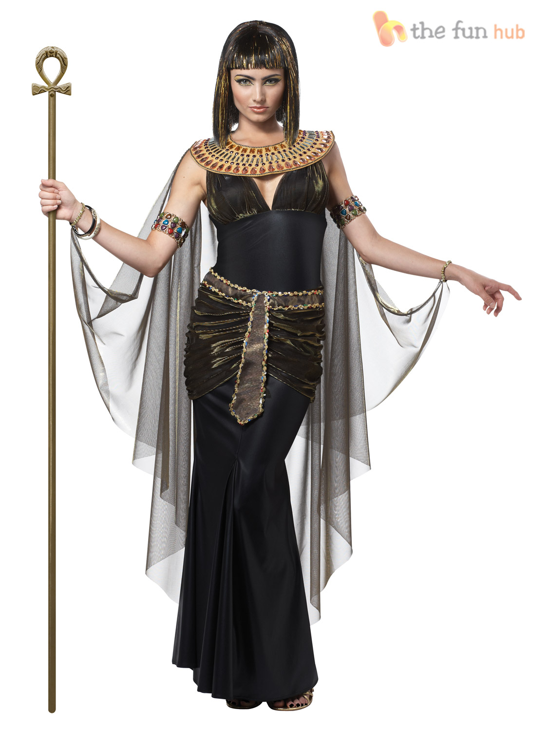 Ladies Queen Cleopatra Womens Fancy Dress Costume Egyptian Goddess Outfit | eBay