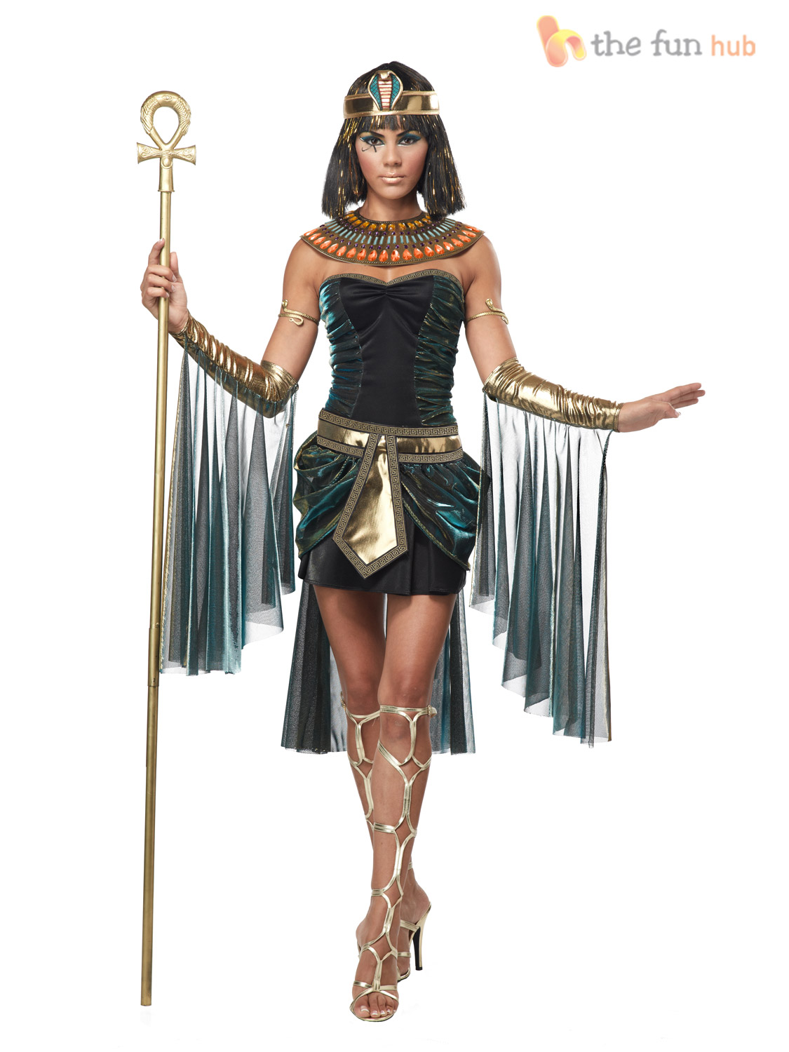 Ladies-Sexy-Deluxe-Queen-Cleopatra-Egyptian-Fancy-Dress-Costume-Womens-Goddess
